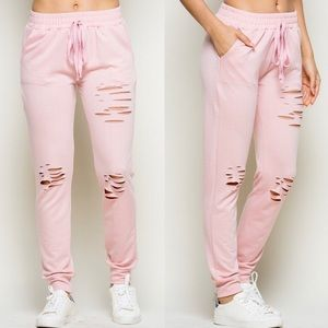 VANNA Distressed Joggers - PINK